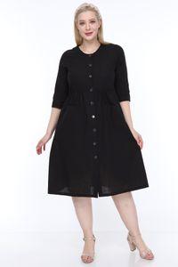 Lire Frau Große Taschen Buttoned Schwarzes Kleid L1624 Schiff aus der Türkei in 2596