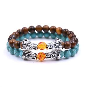 KARAIRIS Модные Тигровый глаз Лава камень бисер браслет Мужчины Vintage Silver Цвет Dragon Head BraceletsBangles для женщин Человек
