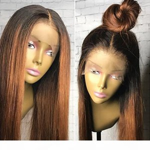 Ombre Two Tone Silky Straight Lace Front Human Hair Wigs Peruvian Virgin Hair 130 Density Bleached Knots Ombre Wig Full Lace Wigs Glueless