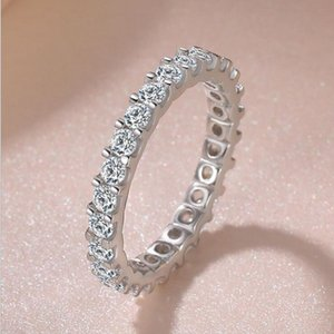 Al por mayor de joyería de lujo Wieck real 925 plata esterlina completa del corte redondo anillo de la venda blanca de la boda del zafiro de la CZ Diamond piedras preciosas Eternidad Mujeres