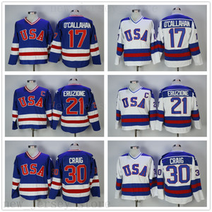 Annata 1980 USA Hockey su ghiaccio 21 Mike Eruzione Jersey Mens College 17 Jack Ocallahan 30 Jim Craig Stitched Team Colore Blu Away Bianco