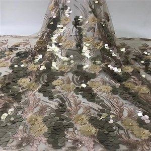 Afrikanisches Spitze-Gewebe 2020 FRENCH-Spitze-Gewebe-Qualitäts-Netz 3D Appliqued Französisch Tüll Stoff für Hochzeit xb18-34