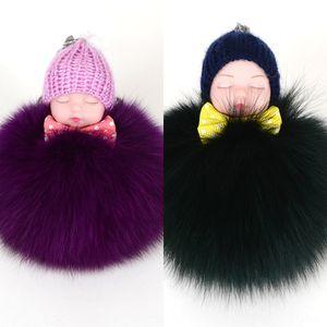 2020 cute key chain fox fur ball sleeping baby Pendant Doll sleeping cute doll bag pendant