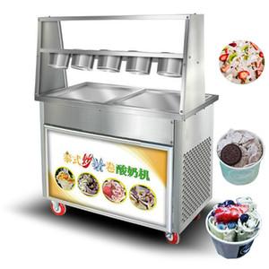 Place panoramique machine à crème glacée frite Thai commerciale 110v 220v 5 crème glacée frite bol machine à rouleau
