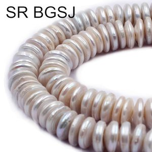 "Frete grátis 10-11mm SR Coin Botão Rondelle Natural de água doce White Pearl DIY Beads Strand 14"" T200507"