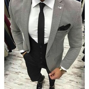 2020 Houndstooth Fabric Men Suits For Wedding Groom Tuxedos 3 Pieces Jacket Black Pants Vest Latest Style Blazer Waistcoat