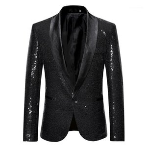 With Button Designer Stage Suit Jacket Fashion Single Button Mens Blazer Plus Hommes Jacket Solid Sequins