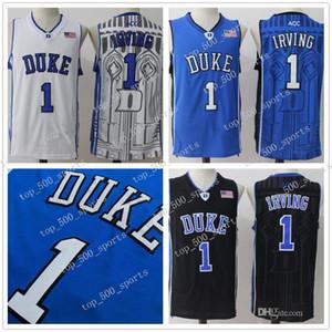 Mens Duke Blue Devils Kyrie Irving College Basketball Jersey pas cher Bleu Noir Blanc Kyrie Irving Cousu NCAA de basket-ball Chemises-2XL