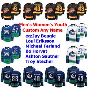 Vancouver Canucks Jerseys Womens Zane McIntyre Jersey Elias Pettersson Quinn Hughes Brock Boeser Gaudette Hockey Jerseys Custom Stitched