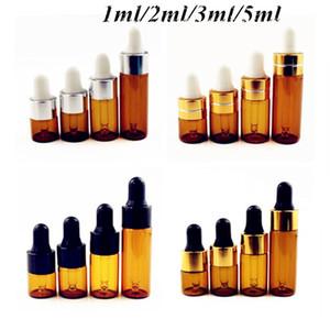 Mini 1ml 2ml 3ml Botella de gotero de vidrio ámbar Viales de exhibición de aceite esencial Botella de prueba de muestra de perfume de suero pequeño, marrón