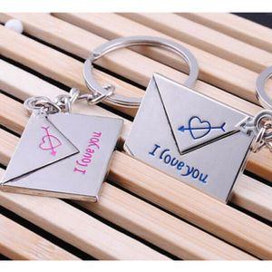 زوج واحد البسيطة مغلف القلب أنا أحبك حلقة مفتاح سلسلة حلقة مفاتيح السيارة سلسلة المفاتيح المعدنية قلادة عيد الحب هدية