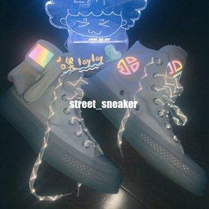 Außen Covase X Lay Zhang Luminous 3M-beiläufige Schuh-Reflective Absetzkipper Kristallband-Schleife Tiny Pocket-Designer Sport Trainer