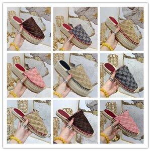 женщины дизайнер новый matelassé шнур сандалии на платформе мулы холст кожа платформа эспадрилья высота каблука тапочки модель 35-41 модель LXF01