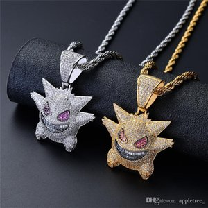 Luxury designer necklace iced out Gengar pendant Necklace mens womens necklaces chains hip hop bling bling jewelry Men Women Jewellery