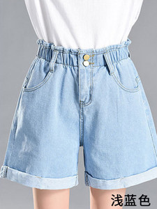 Women Denim Shorts 2019 Summer Vintage High Waist Cuffed Jeans Shorts Street Wear Sexy Wide Leg Keen Length Shorts T5190617