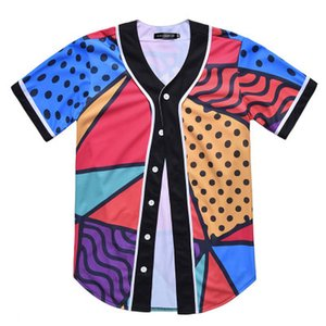 New Style Man Baseball Jersey Sport Shirts 3D Fashion With Button Good Quality 42