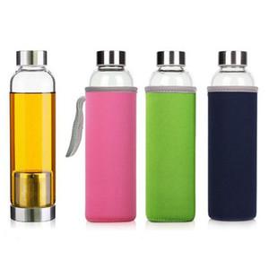 Botella 550 ml Deporte acuático Con resistente a la botella de cristal de té Filtro infusor universal BPA de alta temperatura Jug bolsa protectora