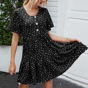 Cover-ups 2021 Summer Polka Dot Printing Bohemian Dress Women's Ladies Loose Button O-neck Short Sleeve Mini