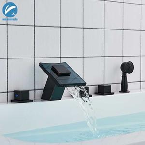 Черный Бронзовый 5шт Водопад ванной кран латунный водопад ванной кран 3 ручки смесителя Torneiras Вытащите Handshower