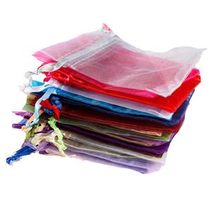 100PCS 순수한 색상 졸라 매는 끈 선물 가방 투명 오간자 쉬폰 진주 원사 가방 7 * 9CM 보석 가방 번들 포켓 결혼식 도매
