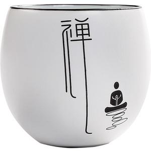 Keramik Zen Tea Cup handgemachter Weinlese-Tee-Schüssel Set Weißes Porzellan Jing Cup Meister Teetasse