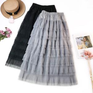 Falda larga de tul voile de las mujeres plisado vestidos de bola del columpio de cintura alta Midi una línea de fondos Empire High Street Cake faldas