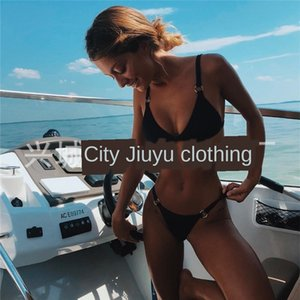 2019 sexy iron ring split solid color 2019 sexy iron ring split bikini swimsuit bikini solid color swimsuit
