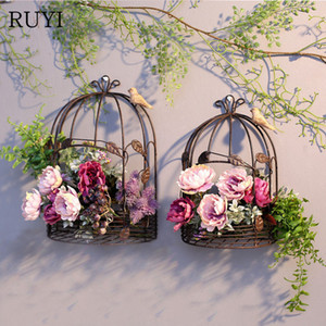 Iron art Half bird cage wall hanging flower stand Wedding wall decoration balcony home decoration accessories photographyprops T200703