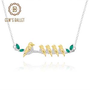 GEM ES BALLE 925 Sterlingsilber Der Liebe meines Lebens Mama Flügel Mutter Vogelbaby-Halskette natürliche grünen Achat-Edelstein-Anhänger