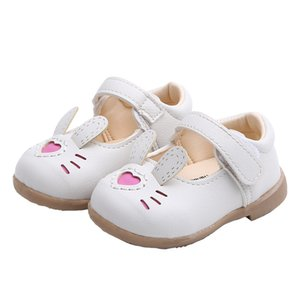 Cute Rabbit Children Toddler Baby Little Girls White Pink Casual Leather Shoes For Girls Dance Shoes Little Girls Flat Shoes 6-18 M
