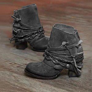 Хороший Ботильоны Высокие каблуки Насосы Женщины Boots плетеной веревки и кисточкой украшения Женский Круглый Toe Урожай Mujer Zapatos