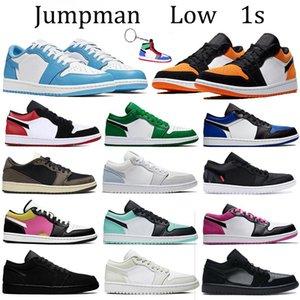 Jumpman 1 1s baja zapatos de baloncesto de los hombres de las mujeres del dedo del pie UNC pino verde real DeStROzaDaS tablero trasero de zapatos para correr Formadores París abeto aura zapatillas de deporte