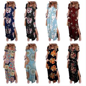 Femmes imprimé floral Robe manches courtes col V Robes longues Sundresses été Boho de Split One Piece Jupe Summer Long Beach Dress Vêtements DHL