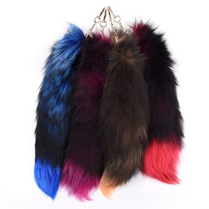 الثعلب الذيل الفراء شرابة مفتاح سلسلة حقيبة علامة حزام سيارة المفاتيح pompom سحر قلادة فضية مشبك الهاتف كيرينغ امرأة gfit 4 ألوان