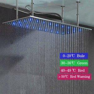좋은 품질 다채로운 LED 램프 레인 샤워 꼭지 현대 20X40 인치 광장 스테인레스 스틸 욕실 최고 헤드 샤워
