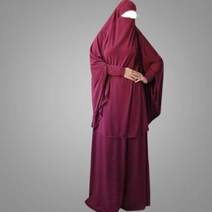 Ramadan 2 pezzi Muslim Prayer l'abbigliamento Imposta donne Hijab Abaya Jilbab maxi khimar Burqa islamica Abbigliamento Overhead Robe arabo