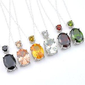 Kadınlar Oval Peridot Morganit Garnet obsidiyen Mücevher Gümüş Kolye Takı CZ Kolye için Luckyshien 10 Adet Mix Renk Yepyeni