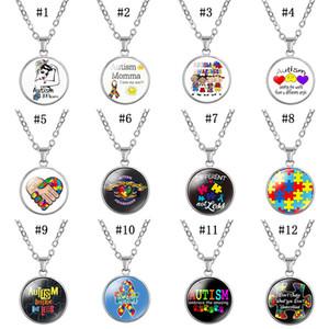 Nouveaux enfants sensibilisation à l'autisme colliers Pour Enfants Garçons Filles En Verre Cabochon puzzle Pendentif collier Mode Inspirational Bienveillant Bijoux