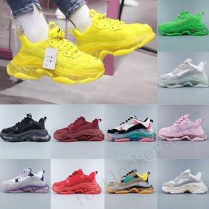 Diseñador de lujo Triple S zapatos Paris Triplicador Plataforma Verde Negro zapatos ocasionales del cuero de la vendimia Claro Sole amantes de la manera vestido de las zapatillas de deporte