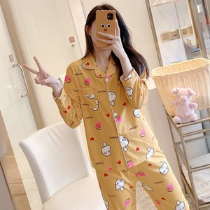 Women Spring Pajamas Sets Long Sleeve Turn-down Collar Pyjama Cardigan Lapel Sweet Cute Top+Pants Pijamas Milk shreds Nightwear