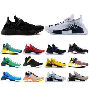Top Fashion Human Race Hu Trail Pharrell Williams Scarpe casual Nerd Black Cream Mens Trainer Donna Outdoor Runner Street sneakers US 5-12