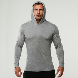 Mens GYM Fitness Hoodies Solid Color Hooded Athletic Casual Sports Sweatshirts Tops Long Sleeves Xshfbcl