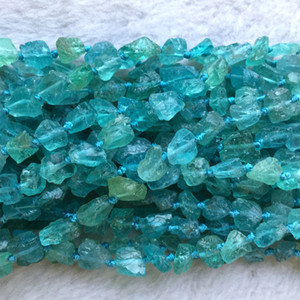 Natural Genuine Raw Mineral Clear Green Blue Apatite Fluorapatite Hand Cut Nugget Free Form Loose Rough Matte Faceted Beads 5-7mm 06018