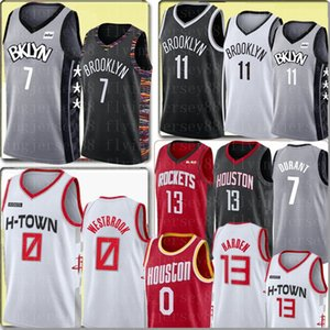 Kevin Durant 7 Kyrie Irving NCAA Uomo Jersey Russell Westbrook 0 Maglia James Harden 13 Università Basketball Maglie S-XXL