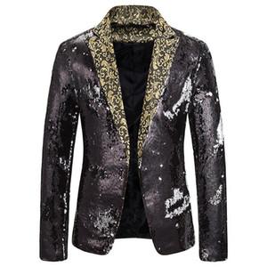 2020 do New Men dois tons Lantejoula Suit Stage Desempenho Suit selvagem lapela Blazer Jacket DJ palco Club Cantor Roupas Discoteca