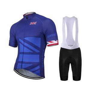 Nova Grã-Bretanha Homens Azul Ciclismo Jersey bicicleta MTB Mountain Road raça Tops Ciclismo Set Bib curto respirável 9D Gel