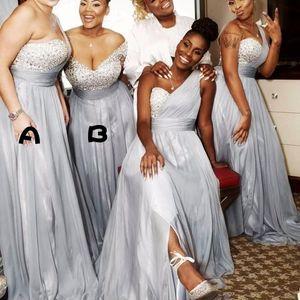 아프리카 실버 한 어깨 장식 고리가 들러리 드레스 Pleats 비즈 메이드 명예 드레스 파티 저녁 착용 Tulle 플러스 사이즈 댄스 파티 드레스