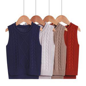 2-6Y los niños del bebé del chaleco del suéter Roupas Infantis invierno estilo de la universidad con cuello en V ropa de los muchachos de chicas suéteres de punto chaleco chalecos CJ191222