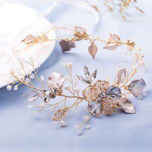 Slbridal Perles Fleur Effacer Strass Or Feuille De Mariage Vigne Bandeau Bandeau De Mariée Bandeau Cheveux Accessoires Femmes Bijoux Y19061503