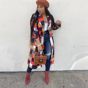 Kadın Uzun Günlük Moda Klasik Ekose Yün Coat Bayan Karışımları